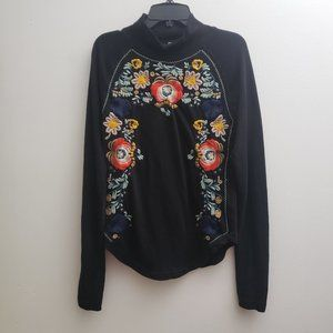 Free People Knit Top Small Black Floral Embroidery